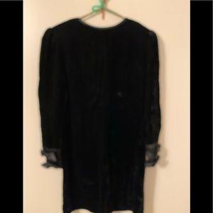Albert Nipon black velour dress